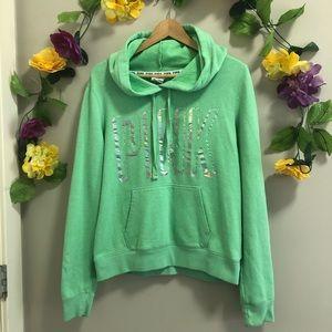Victoria's Secret PINK - Green Holographic Hoodie
